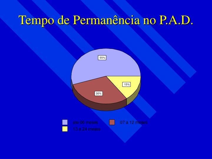 Tempo de Permanência no P.A.D.