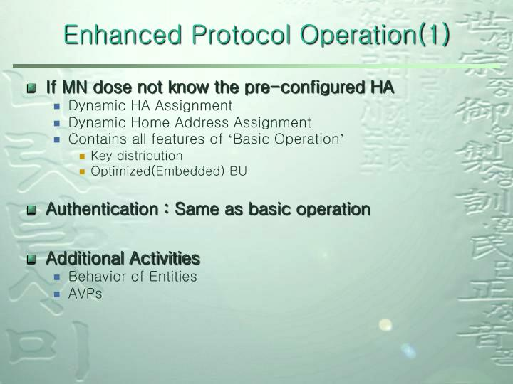 Enhanced Protocol Operation(1)