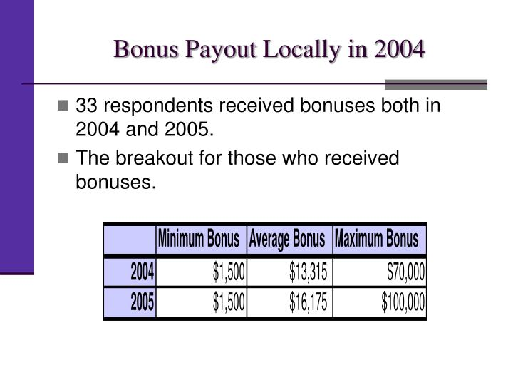 Bonus Payout Locally in 2004