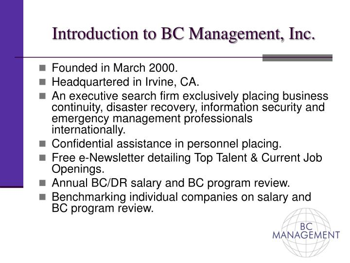 Introduction to bc management inc