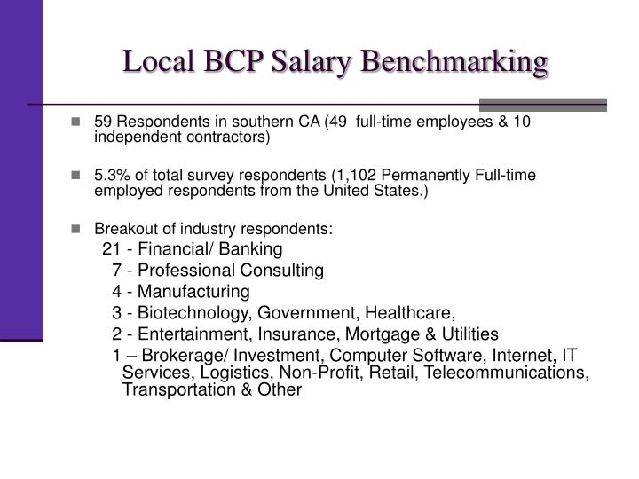Local BCP Salary Benchmarking