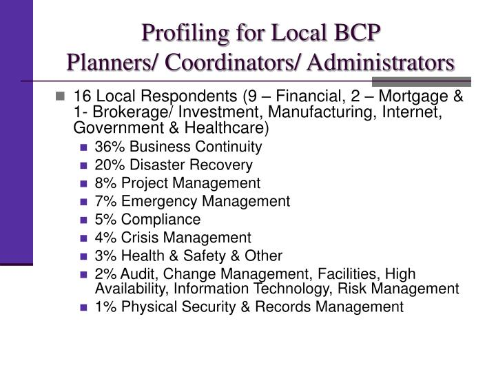 Profiling for Local BCP