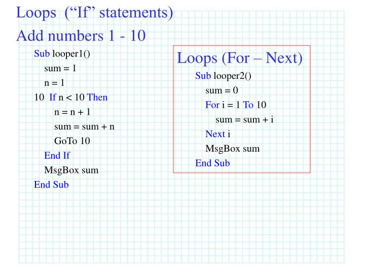 "Loops  (""If"" statements)"
