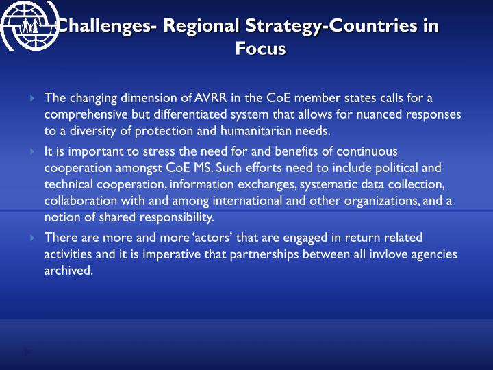 Challenges- Regional Strategy-Countries in Focus