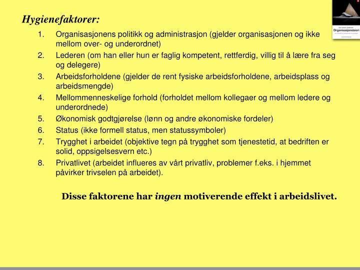 Hygienefaktorer: