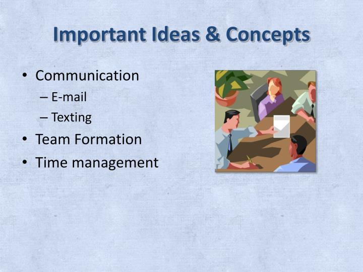 Important Ideas & Concepts