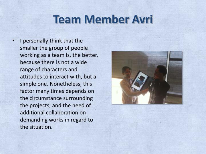 Team Member Avri