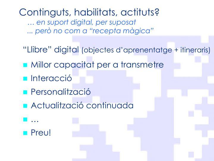 Continguts, habilitats,