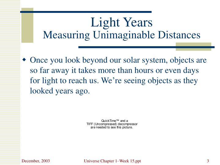 Light years measuring unimaginable distances