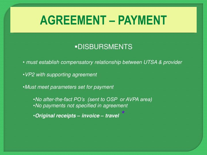 AGREEMENT – PAYMENT