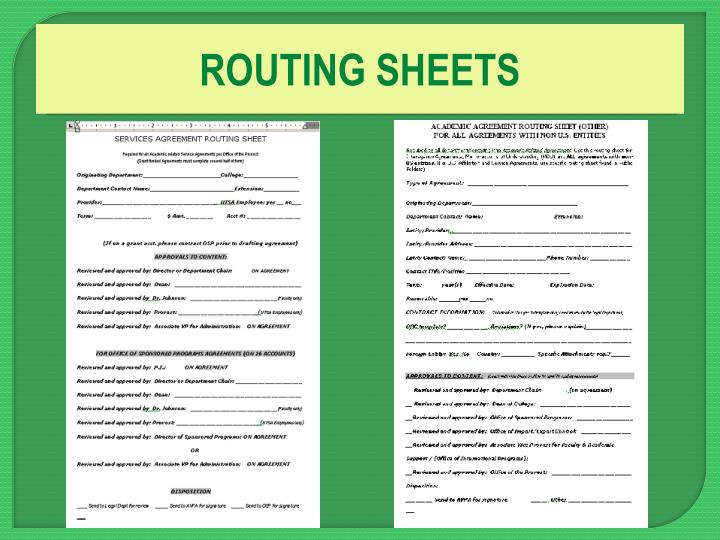 ROUTING SHEETS