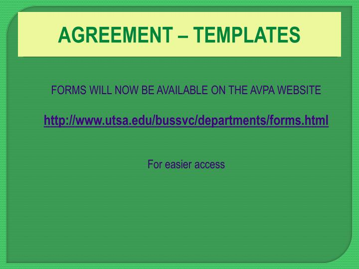 AGREEMENT – TEMPLATES
