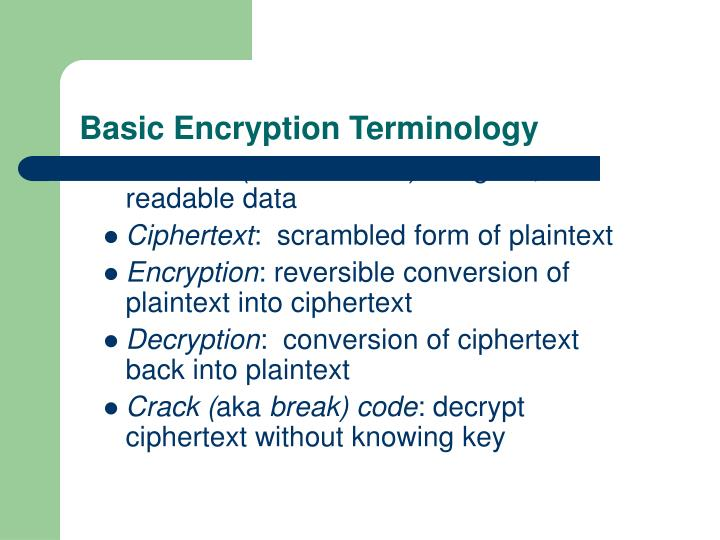 Basic Encryption Terminology