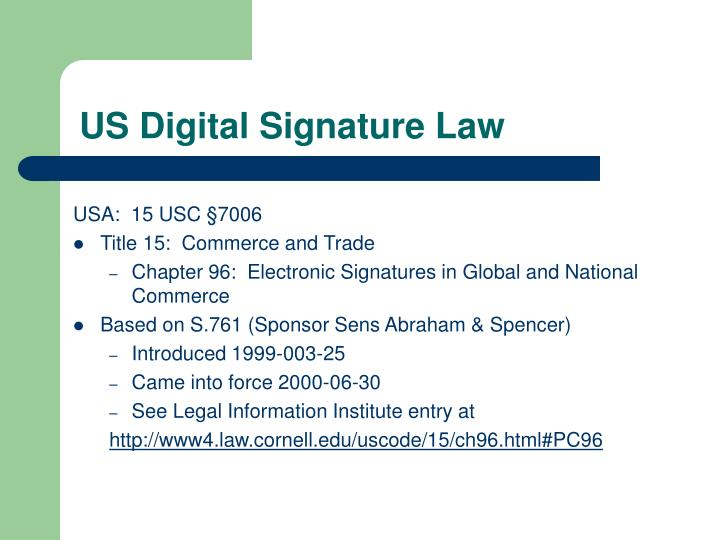 US Digital Signature Law