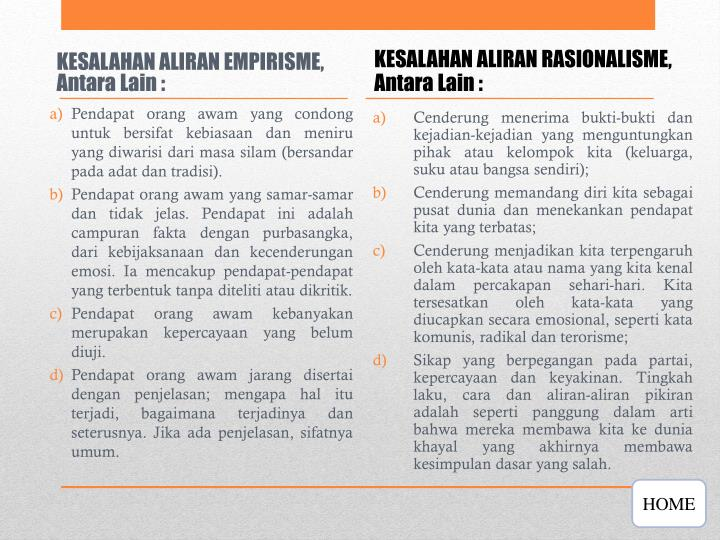 KESALAHAN ALIRAN EMPIRISME, Antara Lain :