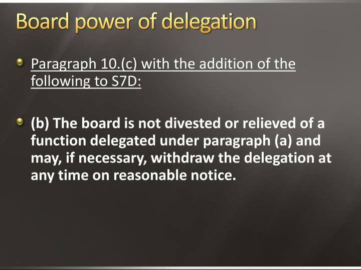 Board power of delegation