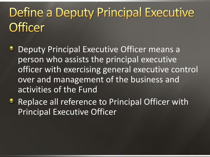 Define a Deputy Principal Executive Officer