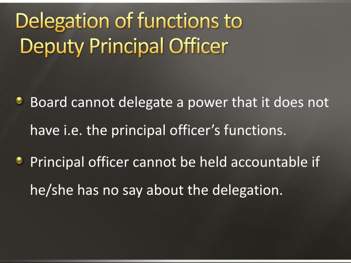 Delegation of functions to