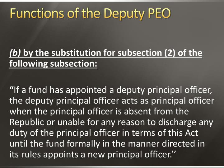 Functions of the Deputy PEO