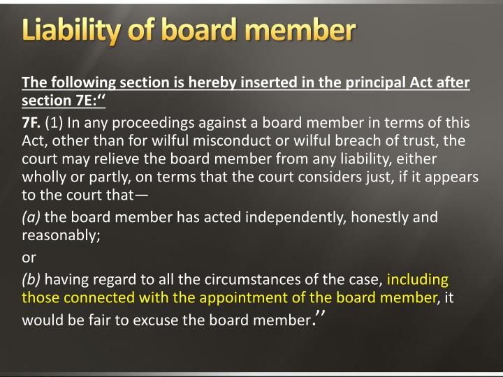 Liability of board member