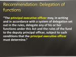 recommendation delegation of functions
