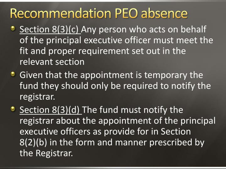 Recommendation PEO absence
