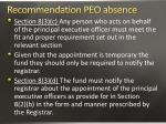 recommendation peo absence1