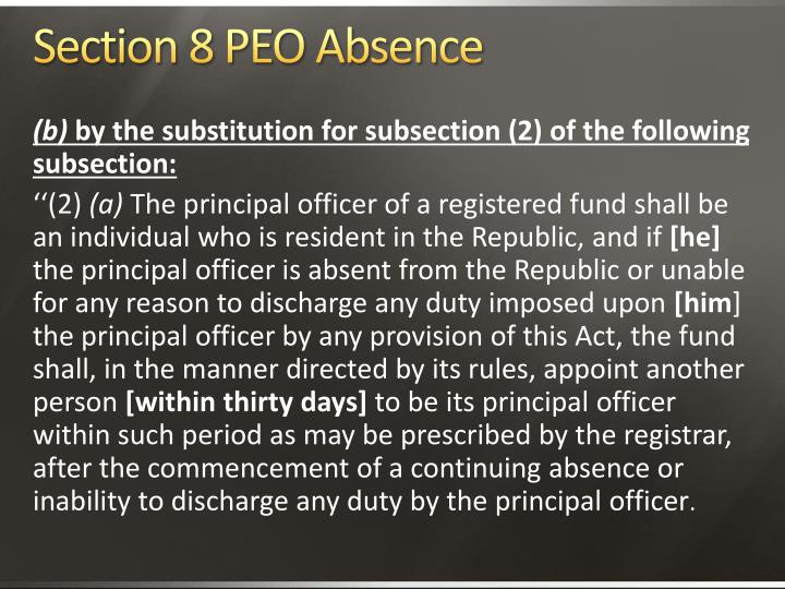 Section 8 PEO Absence