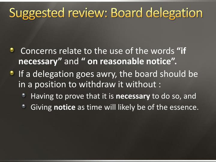 Suggested review: Board delegation