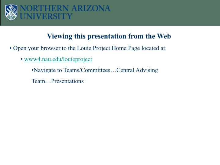 Viewing this presentation from the Web