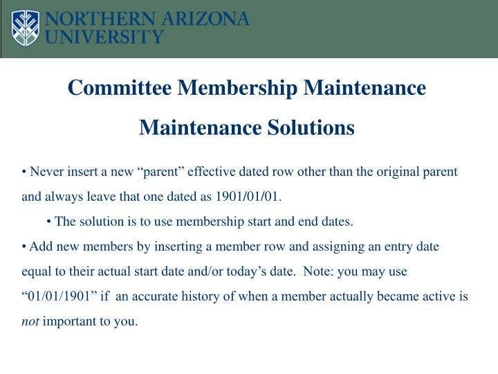 Committee Membership Maintenance Maintenance Solutions