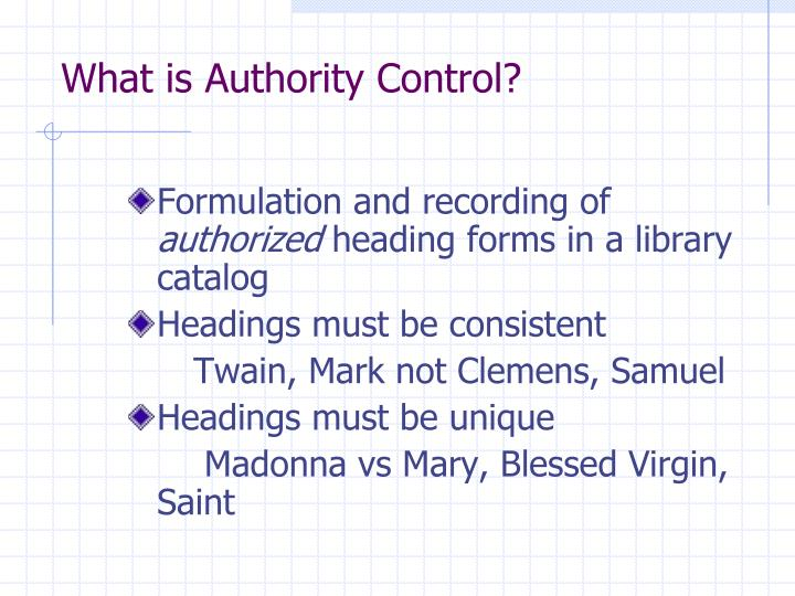 What is authority control