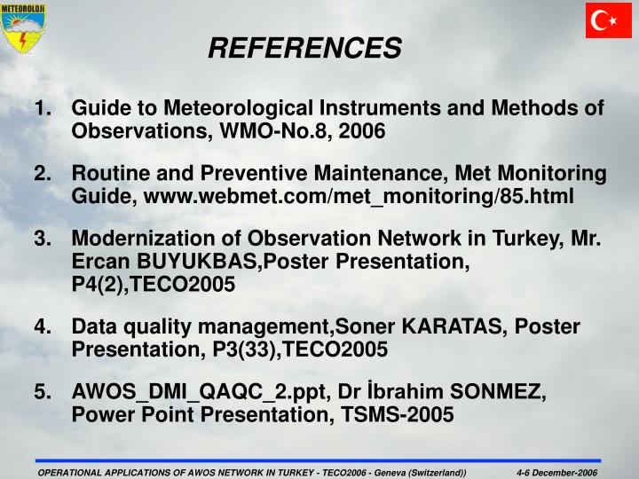 Guide to Meteorological Instruments and Methods of Observations, WMO-No.8, 2006