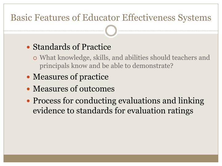 Basic Features of Educator Effectiveness Systems