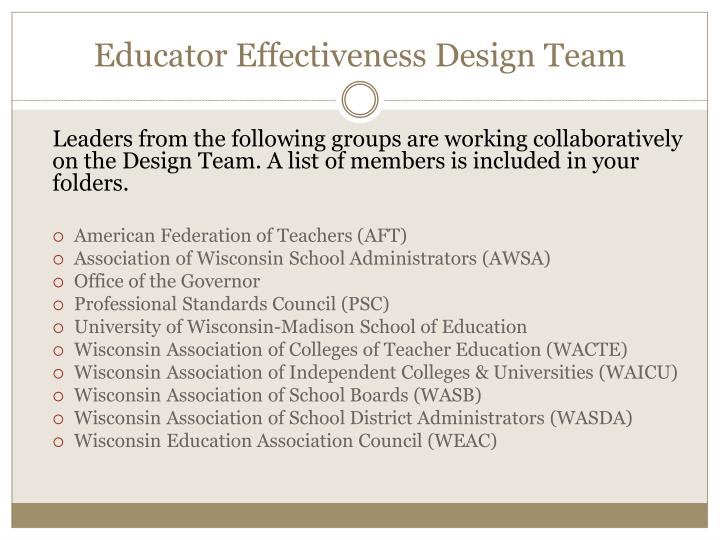 Educator Effectiveness Design Team