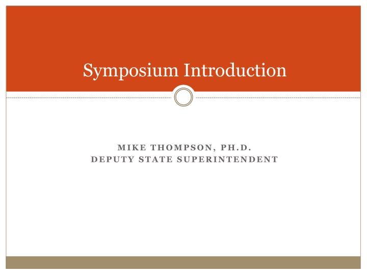 Symposium Introduction