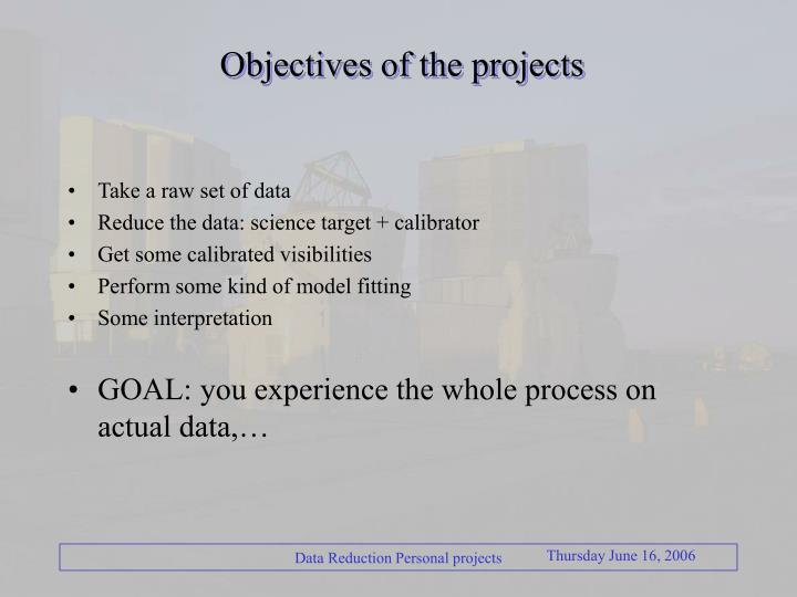 Objectives of the projects