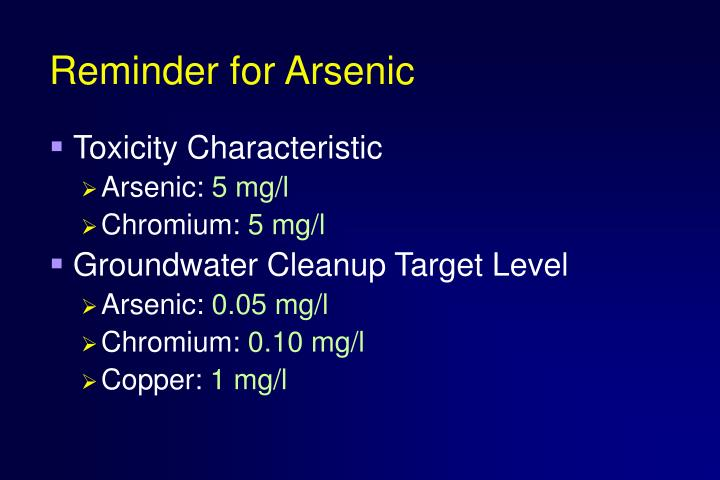 Reminder for Arsenic