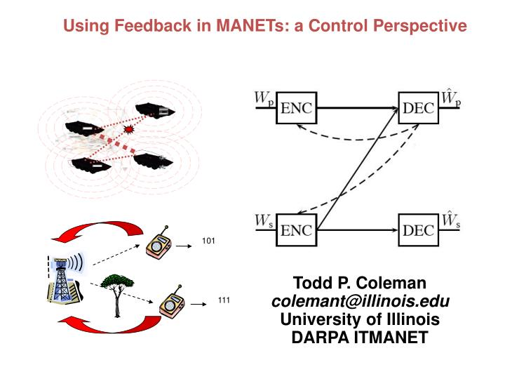 Using Feedback in MANETs: a Control Perspective