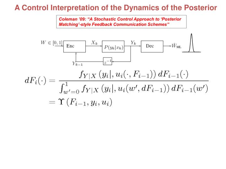 A Control Interpretation of the Dynamics of the Posterior