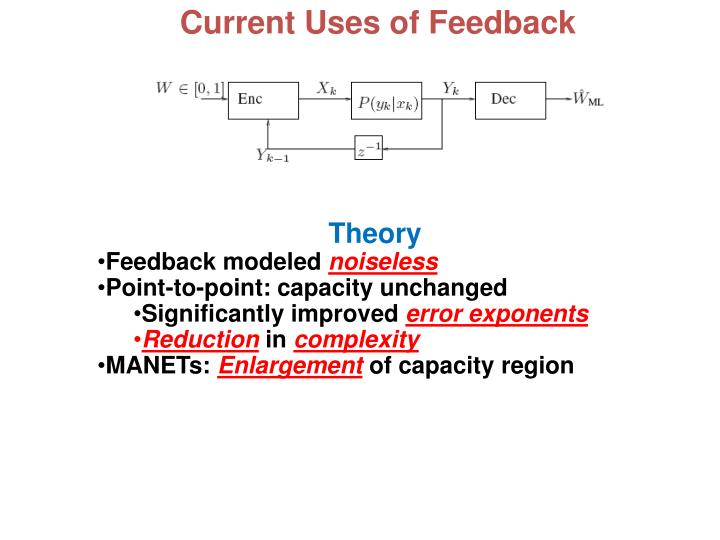 Current Uses of Feedback