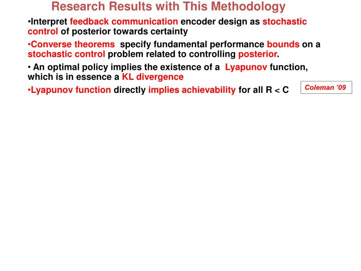 Research Results with This Methodology