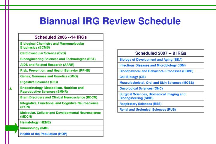 Biannual IRG Review Schedule