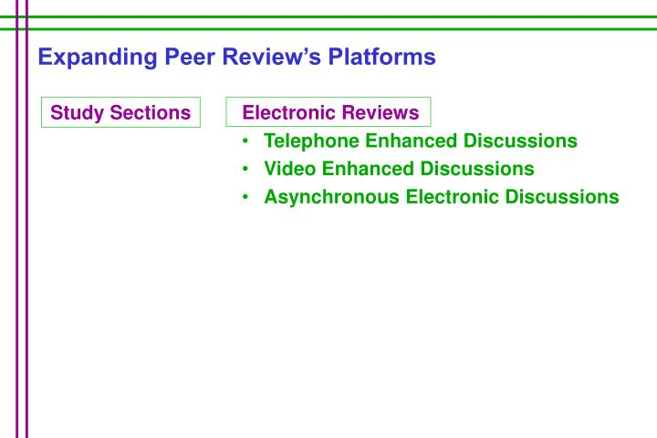 Expanding Peer Review's Platforms