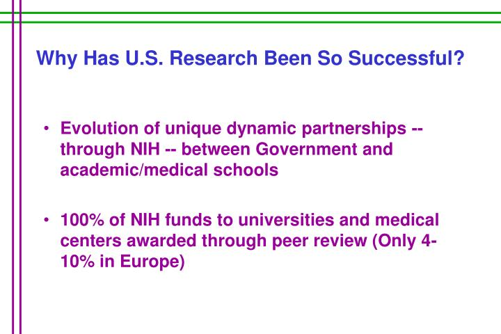 Why has u s research been so successful