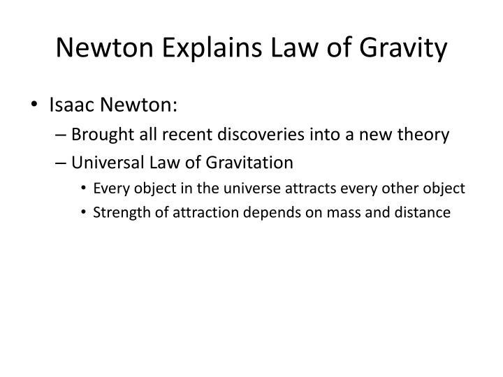 Newton Explains Law of Gravity
