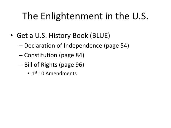 The Enlightenment in the U.S.
