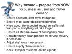 way forward prepare from now for business as usual and higher demand