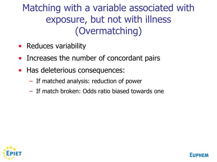 Matching with a variable associated with exposure, but not with illness