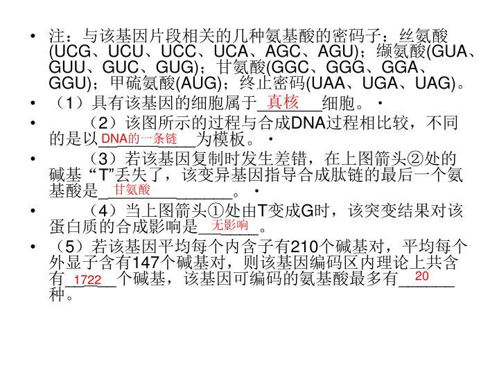 注:与该基因片段相关的几种氨基酸的密码子:丝氨酸
